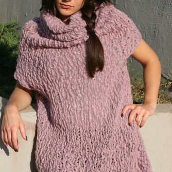 Pink and Grey Knit Dress - Cowl Neck dress - Hand Knitted Merino Wool dress -  EllenaKnits