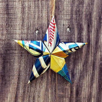 Upcycled Miller Lite Beer Can Star Ornament
