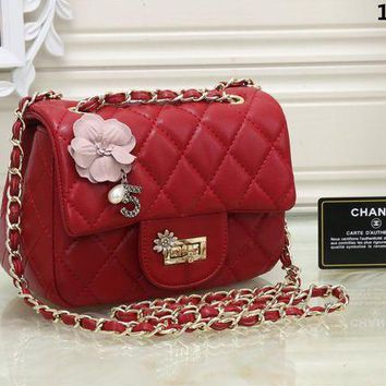 DCCKH3L Chanel' Women Personality Fashion Flowers Quilted Mini Metal Chain Single Shoulder Messenger Bag