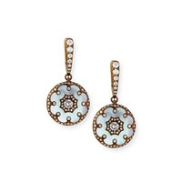 Mother-of-Pearl and Diamond Flower Earrings