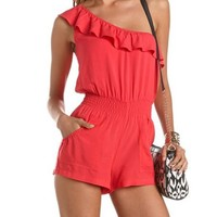 Ruffled One Shoulder Romper: Charlotte Russe