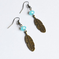 Boho Feather Earrings. Native American Inspired Jewelry. Hippie Feather Jewelry