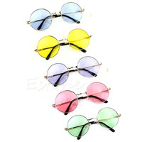 New Retro Women Men Colorful Lens Sunglasses Eyewear Plastic Frame Round Glasses