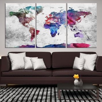 47294 - World Map Canvas Print, World Map Push Pin Canvas Print, Large Wall Art World Map Push Pin Canvas,