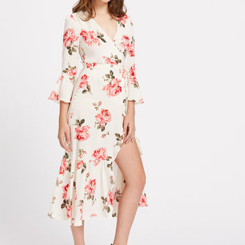 Beige Wrap Belted Plunge Neckline Floral Print Slit Dress