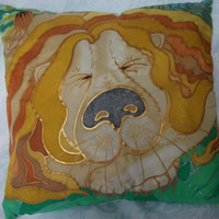 Lazy Lion silk cushion cover zipped, 40cm square. Fun cushion great for kids bedrooms. Colours are vibrant with bold metallic outliners.