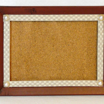 Rustic 5X7 Photo Picture Frame Cork Board Combo Decorated with Linen Ribbon and Pearl Accents Portrait or Landscape