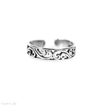 Sterling Silver Open Filigree Toe Ring