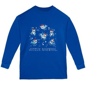 CREYCY8 Christmas Joyeux Narwhal Noel Youth Long Sleeve T Shirt