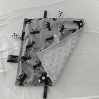 Black and Gray Caribou Print Minky Toddler Taggie, Pacifier Keeper, Teether, Taggy, Security Lovey, Diaper Bag Lovey, Baby Sensory Blanket