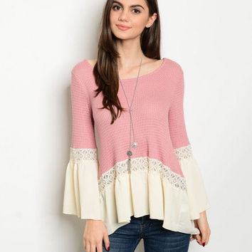 * MAUVE CREAM BELL SLEEVE TOP