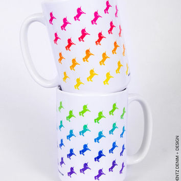 Rainbow Unicorn Mug Set - 11 oz. Coffee and Tea Mug - 15 oz. Coffee and Tea Mug - Printed on Both Sides - Gift Idea - Set of TWO