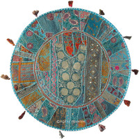 "32"" Big Blue India Sari Patchwork Embroidered Floor Pillow Cushion Cover Sham"