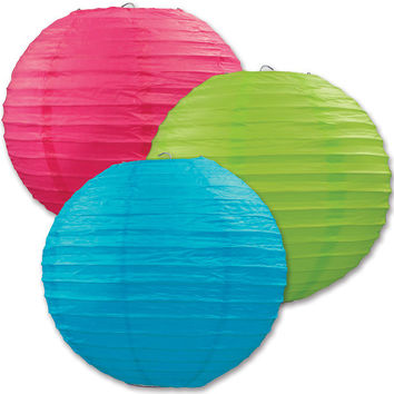 "luau assorted colors paper lanterns - 9.5"" Case of 6"