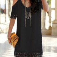 V-Neck Shoulder Cut Out Lace Hem Dress