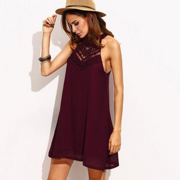 Hot sale sexy off shoulder lace hollow splicing halter dress