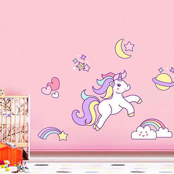Unicorn Wall Decal Unicorn Wall Decor Unicorn Wall Sticker Rainbow Clouds Wall Decal Stars Wall Decal Nursery Decor cik2256