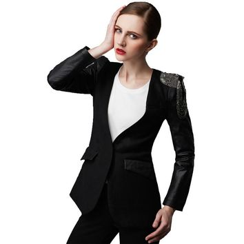 Factory Women's Coat Real Soft Sheepskin Sleeve Wool Blended Suits Fashion Black Gray Slim Fit Short Female Blazer Autumn Coats