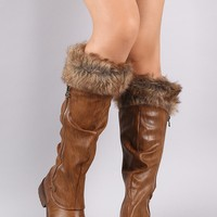 Slouchy Fur Cuff Riding Knee High Boots