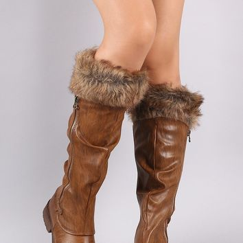 Bamboo Slouchy Fur Cuff Riding Knee High Boots