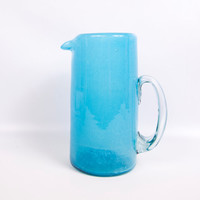 Vintage Aqua Spatter Glass Cocktail Pitcher Hand Blown Glass Cylinder Baby Blue Water Jug Juice Pitcher Applied Glass Handle