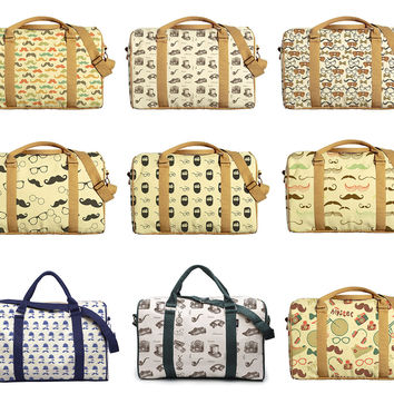 Vintage Hipster Patterns Print Oversized Canvas Duffle Luggage Travel Bag WAS_42