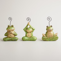 Wooden Yoga Frogs Place Card Holders, Set of 3 - World Market