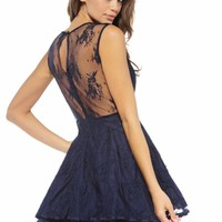 Navy Wrap V Front Flare Dress With Lace Overlay