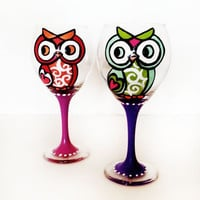 owl cutie wine glass - set of 2 -  colors can be custom - rhinestones - 20 oz