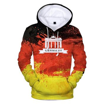 Two Step 3D Flag Print Argentina Germany Russia  Brazil USA Hoodie Sweatshirt With Hat