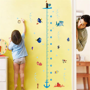 diy growth chart height measure wall sticker home decal Nemo cartoon sea animal funny friends world for kids room nursery mural