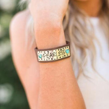 Fearless Inspirational Leather Cuff