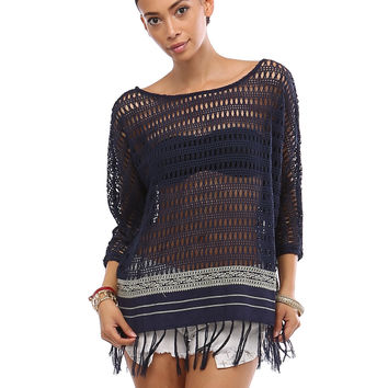 Navy Open Knit Top with Fringe Hem