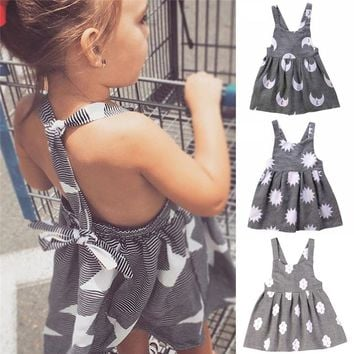 4 Styles Toddler Kids Girls Summer Dress Star Moon Sun Clouds Print Baby Girl Princess Dress