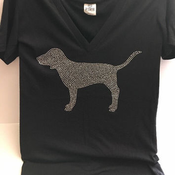 Victoria's Secret Pink Silver Sequins Dog Graphic Black T-Shirt Top MM Vietnam