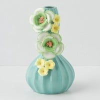 Carved Gourd Vase by Anthropologie in Turquoise Size: One Size Vases
