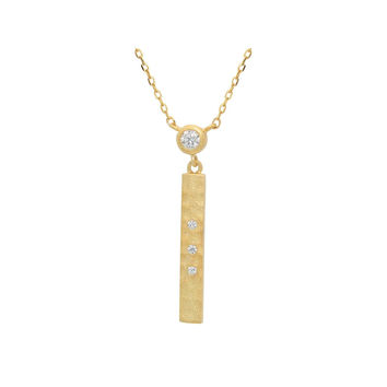 """Silver Gold Plated Plated 25mm Bar Satin Finish and Cz 15"""" + 2"""" Necklace"""
