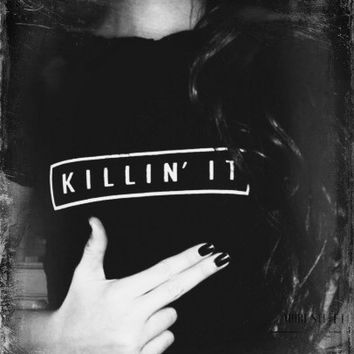 "Black "" Killing It ""  Print Short-Sleeve T-shirt"