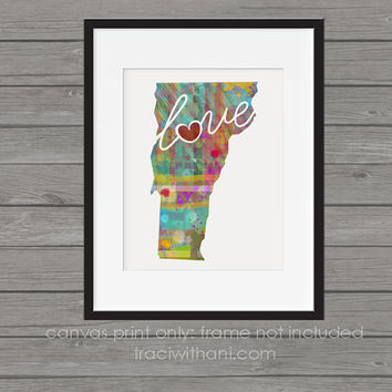 Vermont Love - VT Canvas Paper Print:  A Modern and Colorful Abstract Watercolor Style Original Art Piece / Home State Love Map