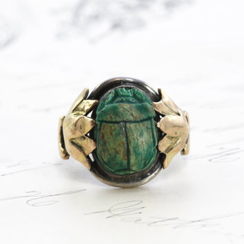 Antique Egyptian Revival Scarab Ring, Art Deco Sterling and 14k Rose Gold Carved Faience Scarab Lotus Blossom Motif, Good Luck Talisman Ring