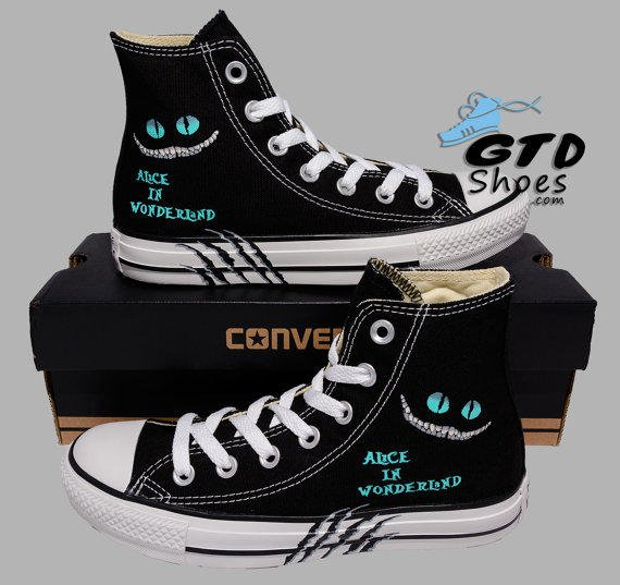 Hand Painted Converse Hi. Alice in from Genuine Touch Designs 5577df87e95a