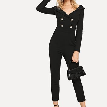 Surplice Neck Double Breasted Form Fitting Jumpsuit