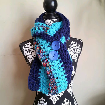 End of Season Sale Was 49 now 20 Blue and Turquoise Striped Chunky Buttoned Scarf Vegan Friendly Chunky Scarf with Buttons