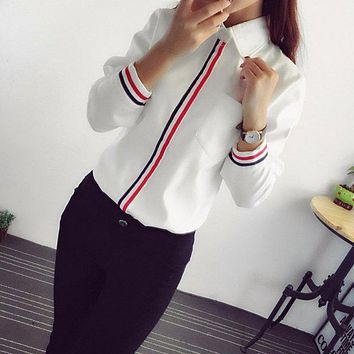 Women Blouse Office Formal Button Down Long Sleeve School Blouse Cotton Soft Casual Ladies Clothing Shirt Crop Top Female