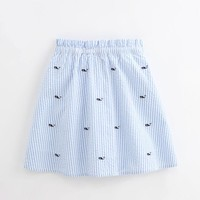 Girls Whale Embroidered Seersucker Skirt