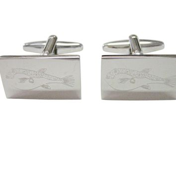 Silver Toned Etched Puffer Fish Cufflinks