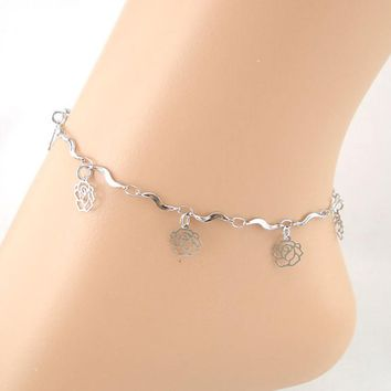 Lines Rose Anklet Bracelet Sandal Barefoot Beach Foot Jewelry