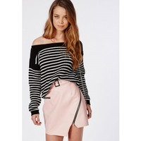 Missguided - Off Shoulder Striped Knitted Jumper Black