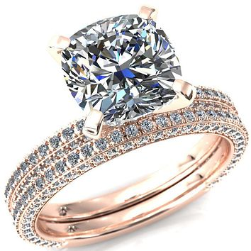 Mariyah Cushion Moissanite 4 Prong 3/4 Eternity 3 Sided Diamond Shank Engagement Ring