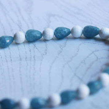 Necklace with aqua aura quartz and white agates with 14K gold filled accessories